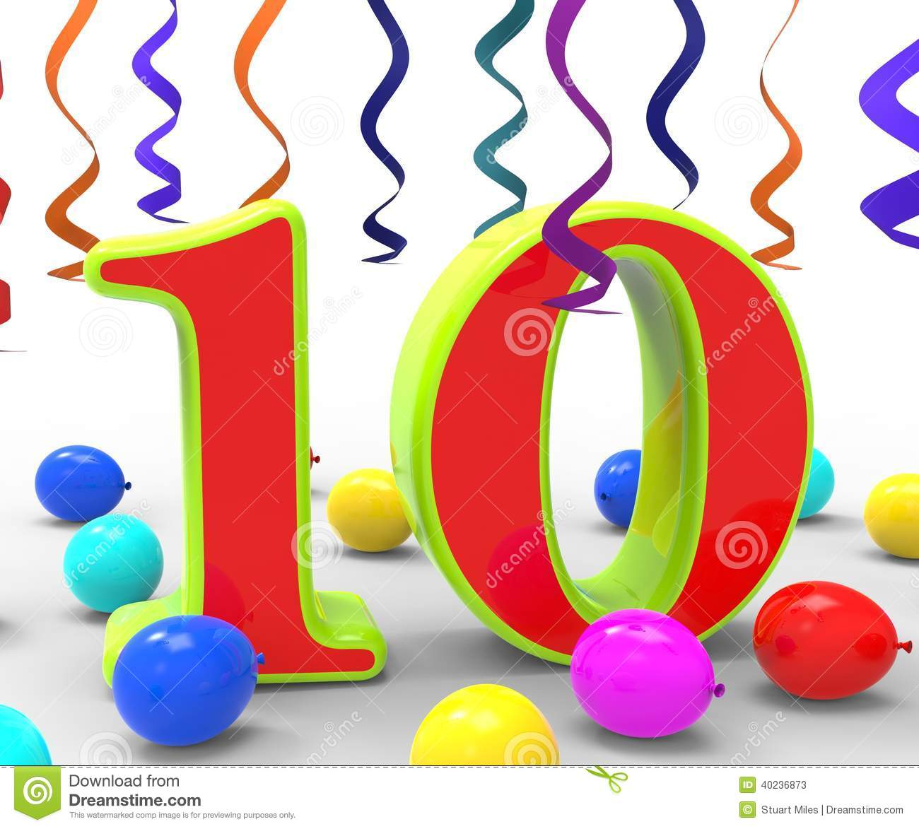 Number Ten Party Shows Bright Decorations And Stock