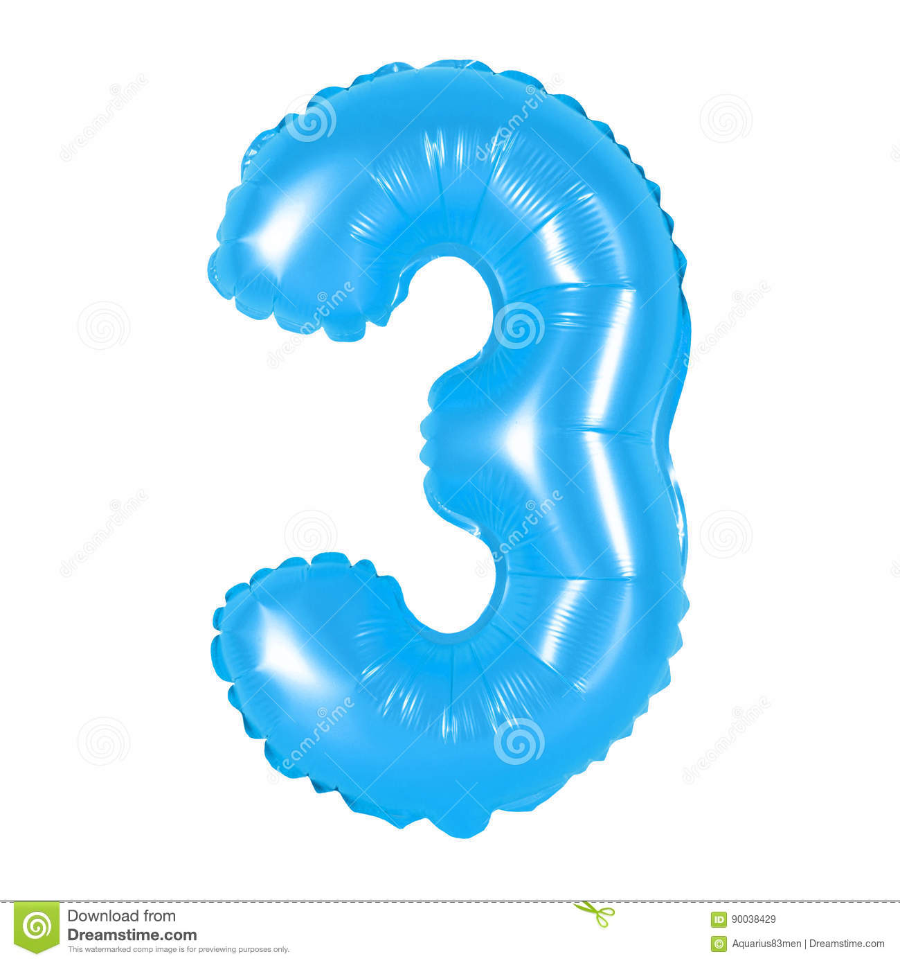 Number 3 Three From Balloons Blue Stock Image
