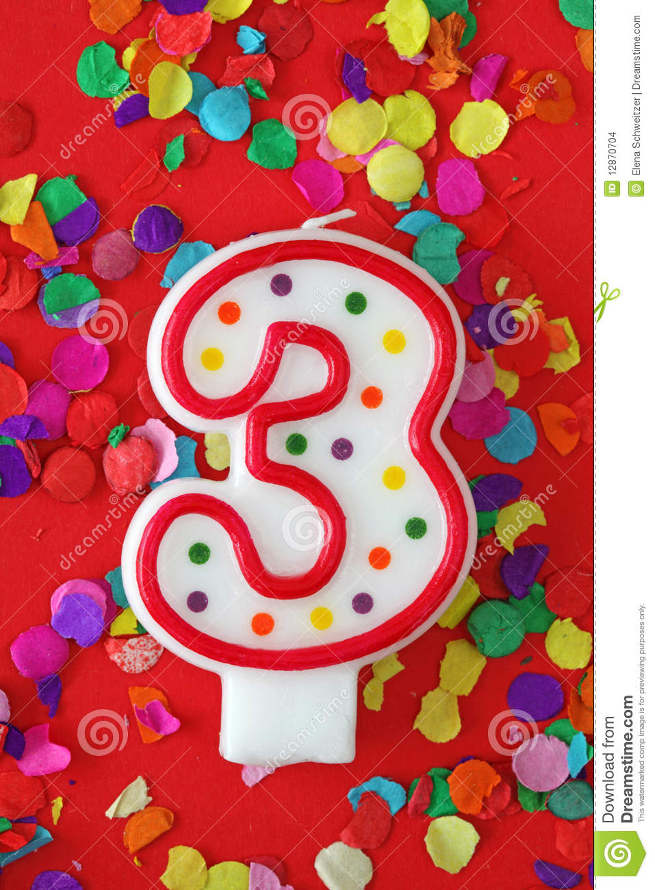 Number Three Birthday Candle Stock Photo