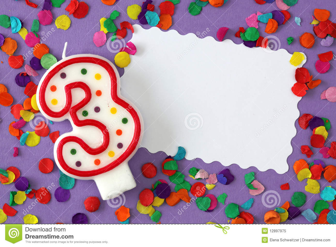 Number Three Birthday Candle Stock Image