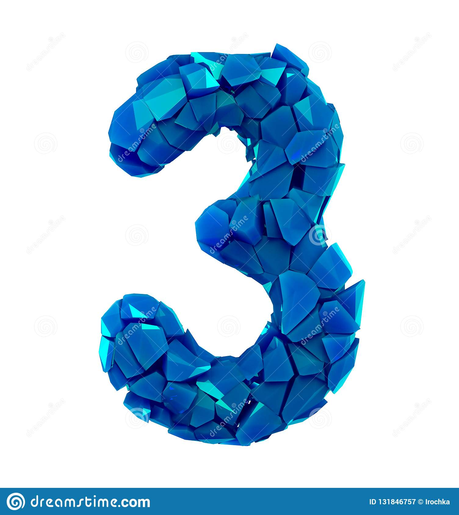 Number Three 3 Made Of Broken Plastic Blue Color Isolated White Background Stock Illustration