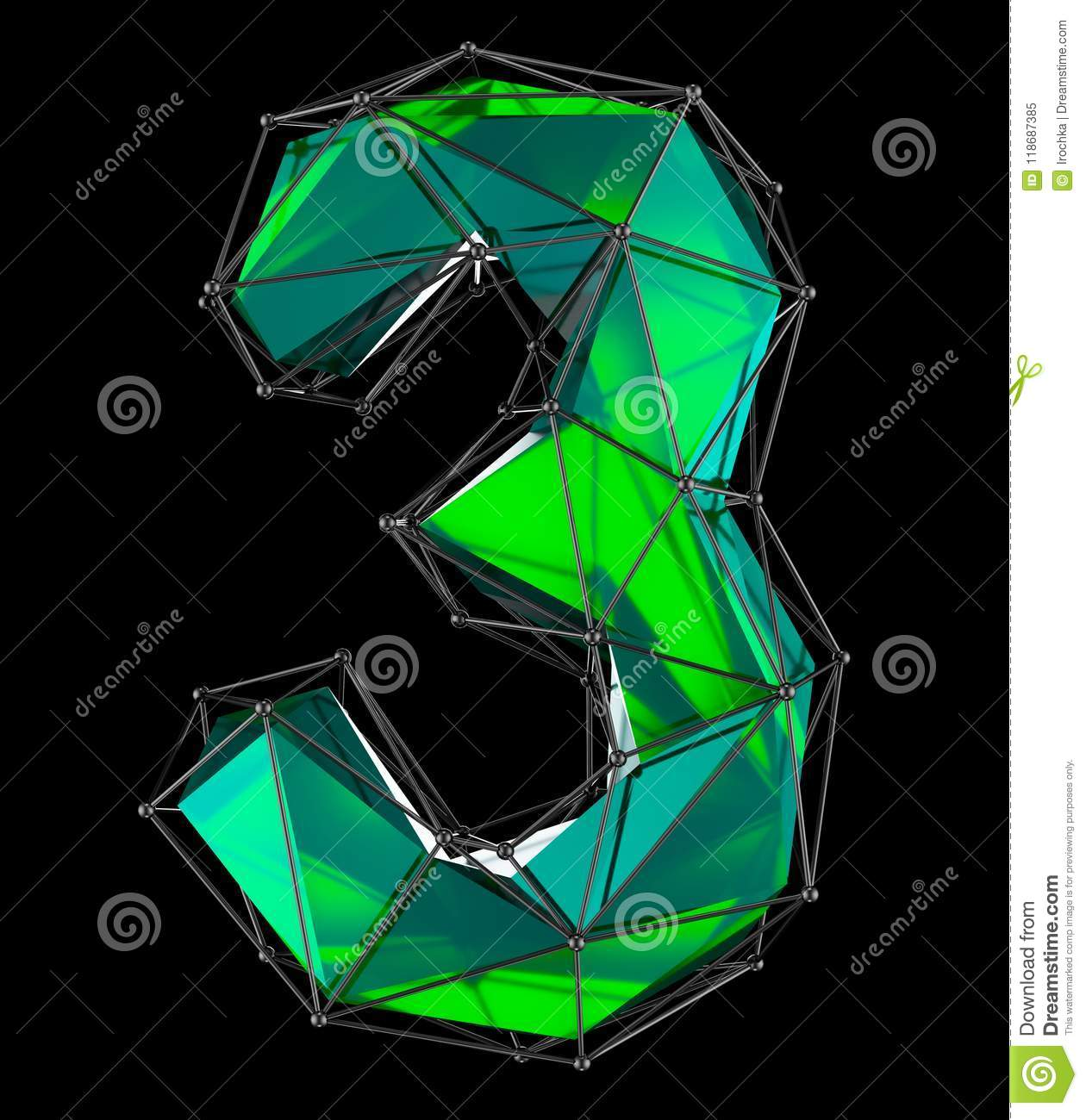 Number 3 Three In Low Poly Style Green Color Isolated On Black ...