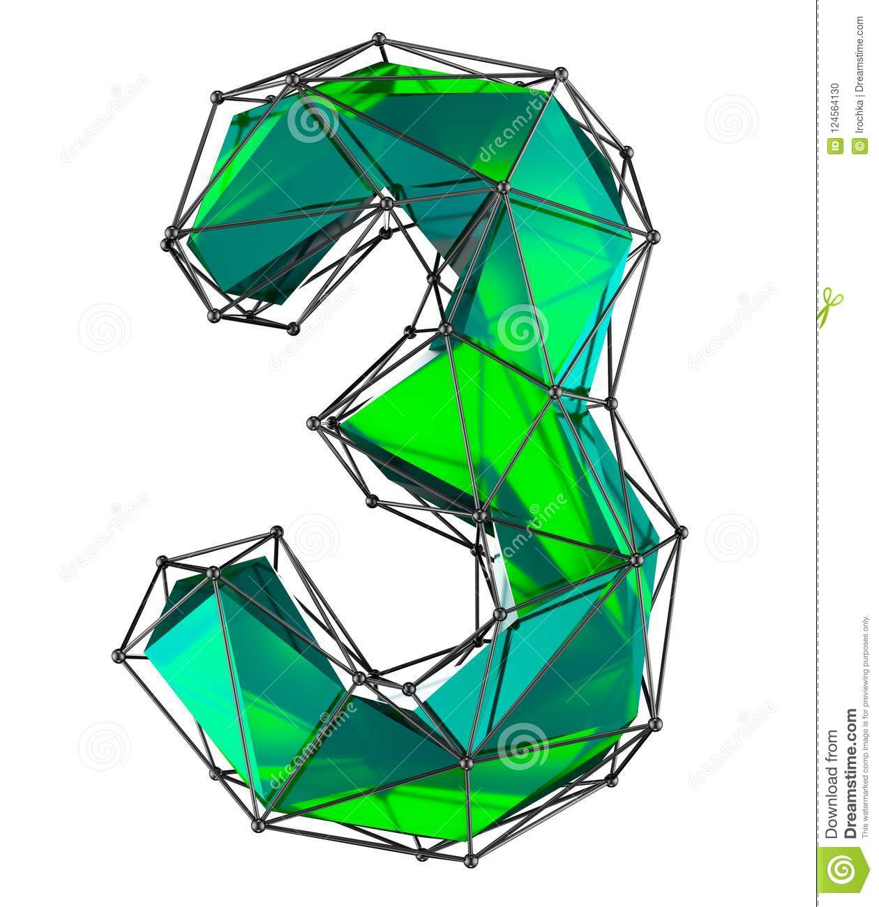 number 3 three in low poly style green color isolated 3d stock