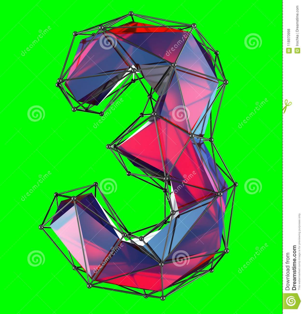 number 3 three in low poly style red color isolated on green