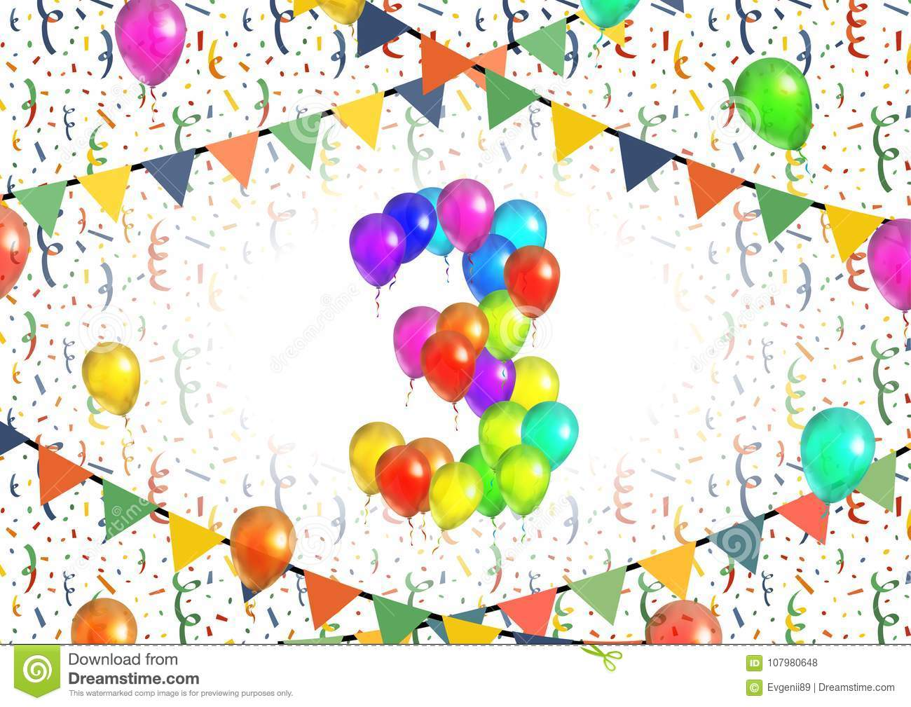 Number Three Made Up From Bright Colorful Balloons On White Background With Confetti Stock