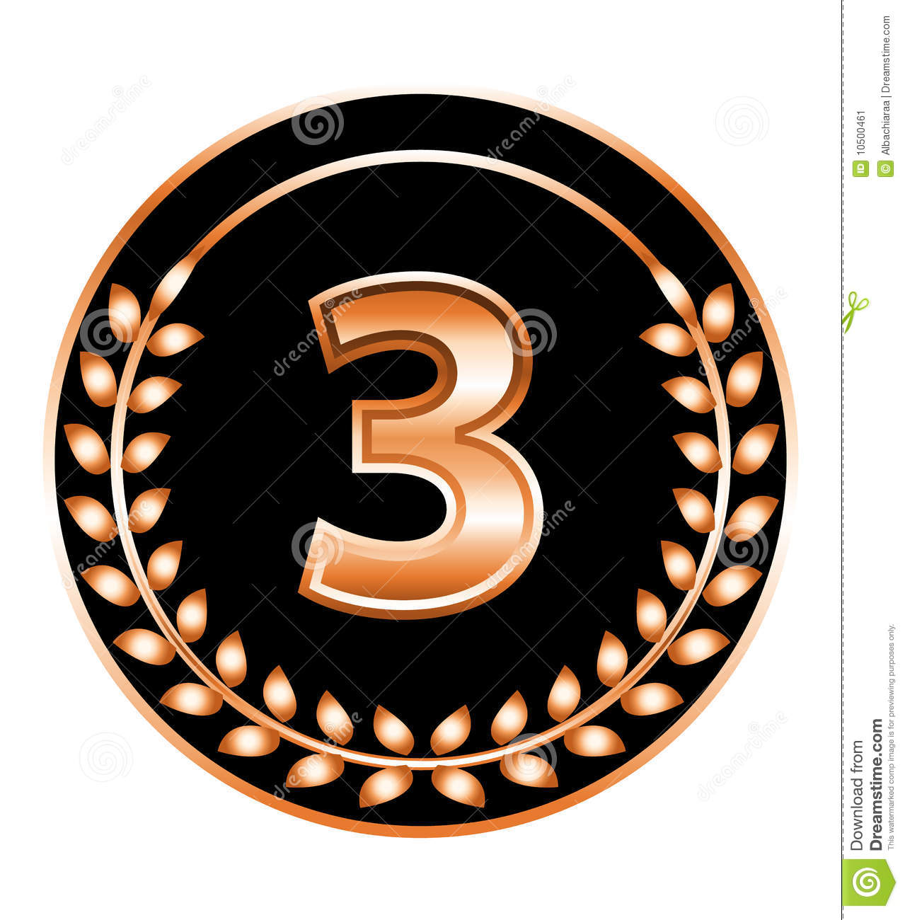 Number Three Medal Stock Vector  Illustration Of Black