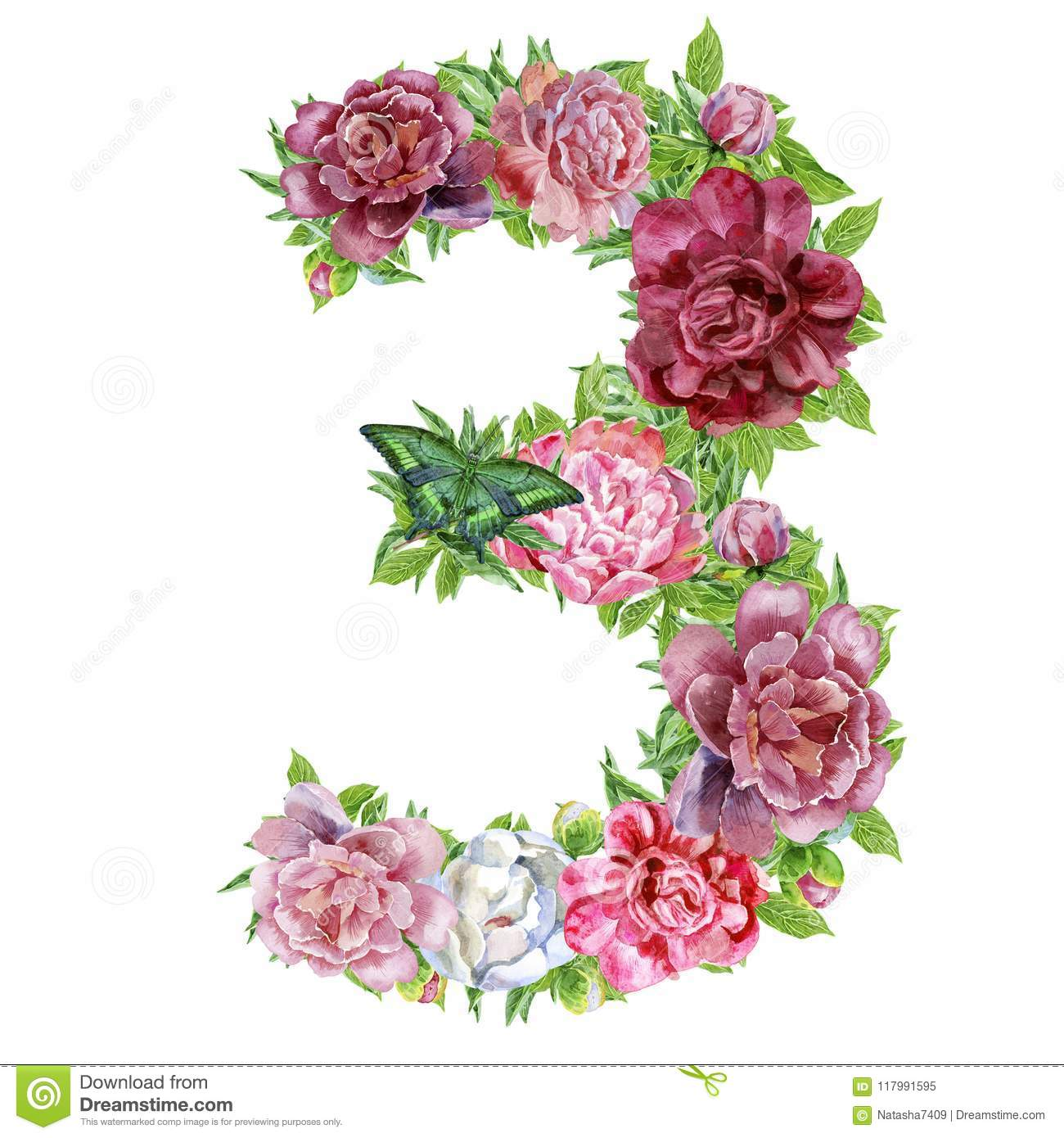 Number Three Of Watercolor Flowers Stock Illustration