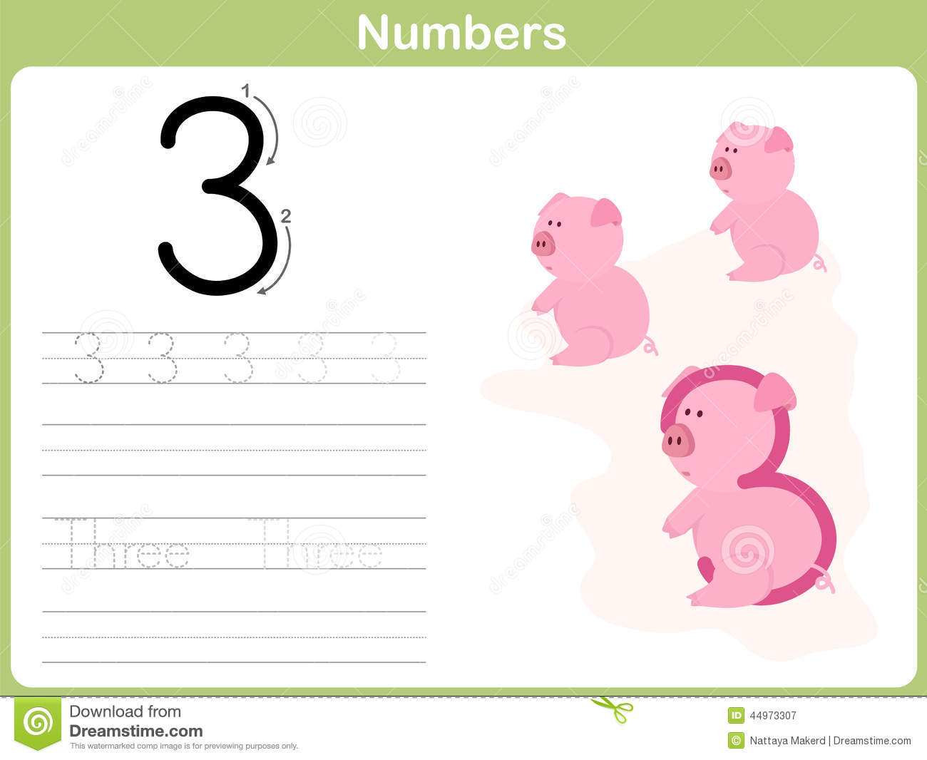 Number Tracing Worksheet: Writing 0-9 Stock Vector - Illustration of ...