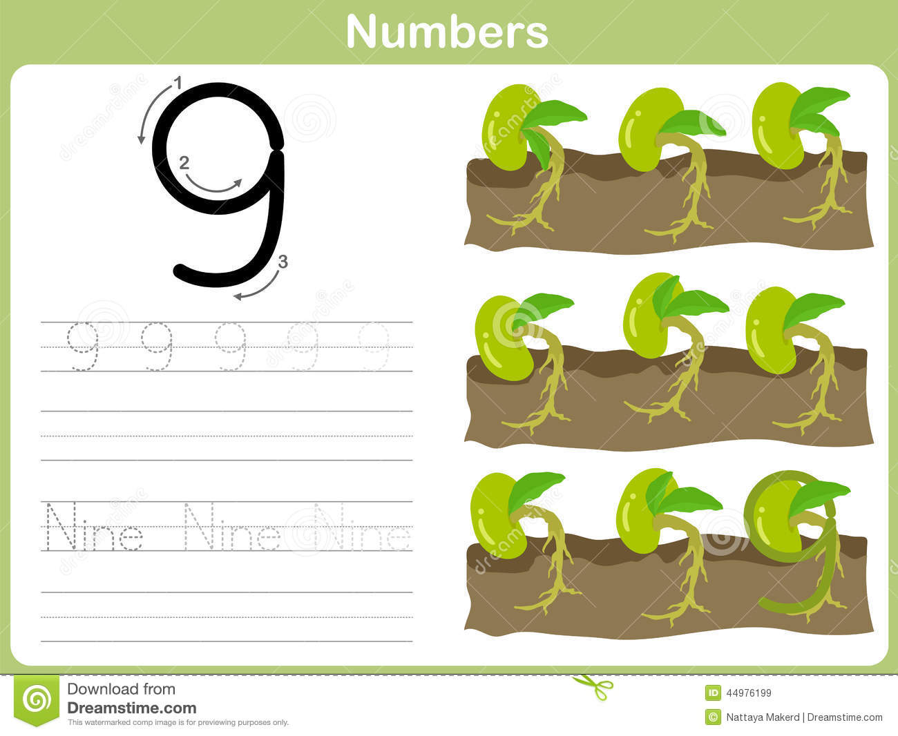 Number Tracing Worksheet Writing 0 9 Stock Vector Image