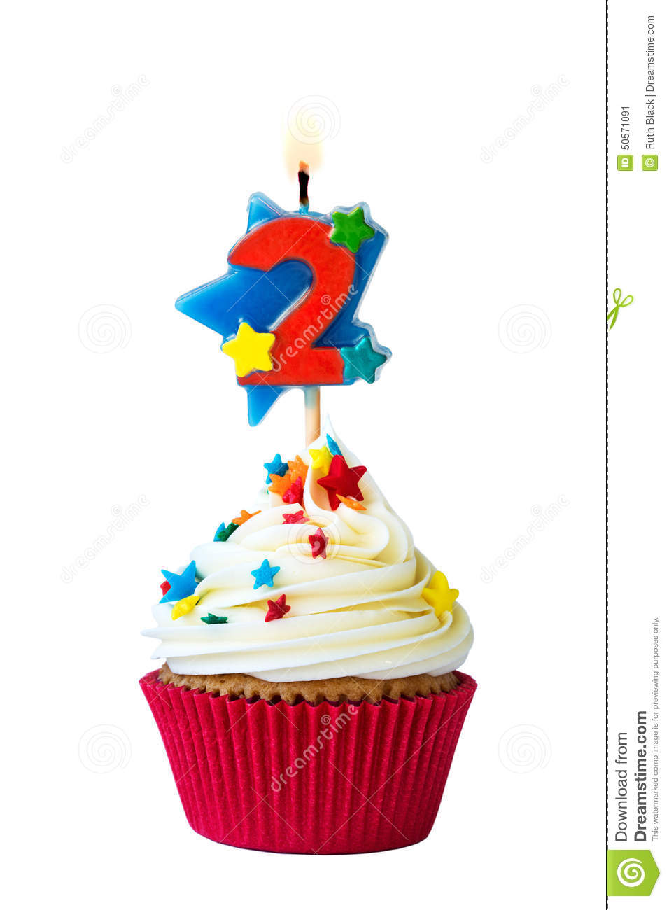 Number Two Cupcake Stock Photo Image 50571091