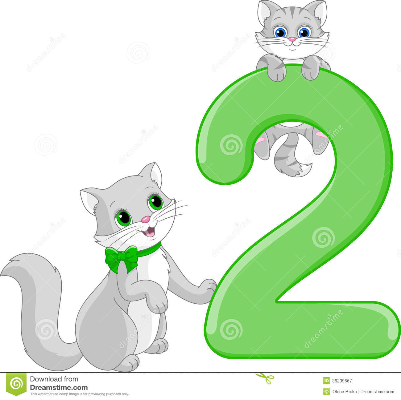 Number Two Cats Royalty Free Stock Photography Image 36239667
