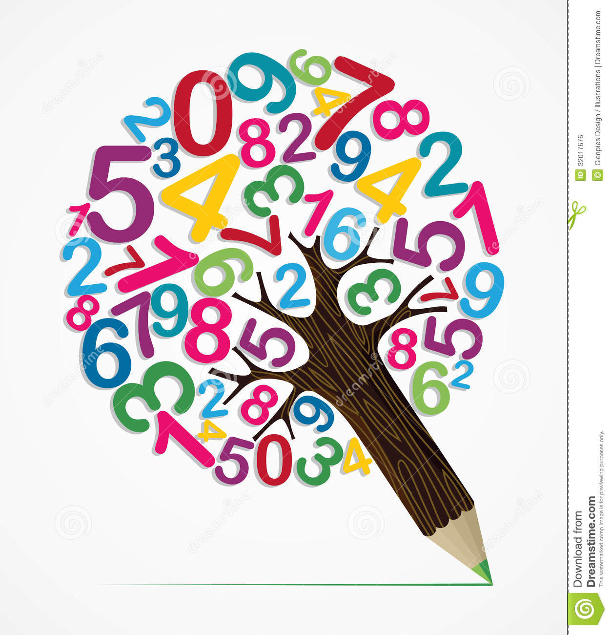 Number variety concept pencil tree stock vector for Blueprint number