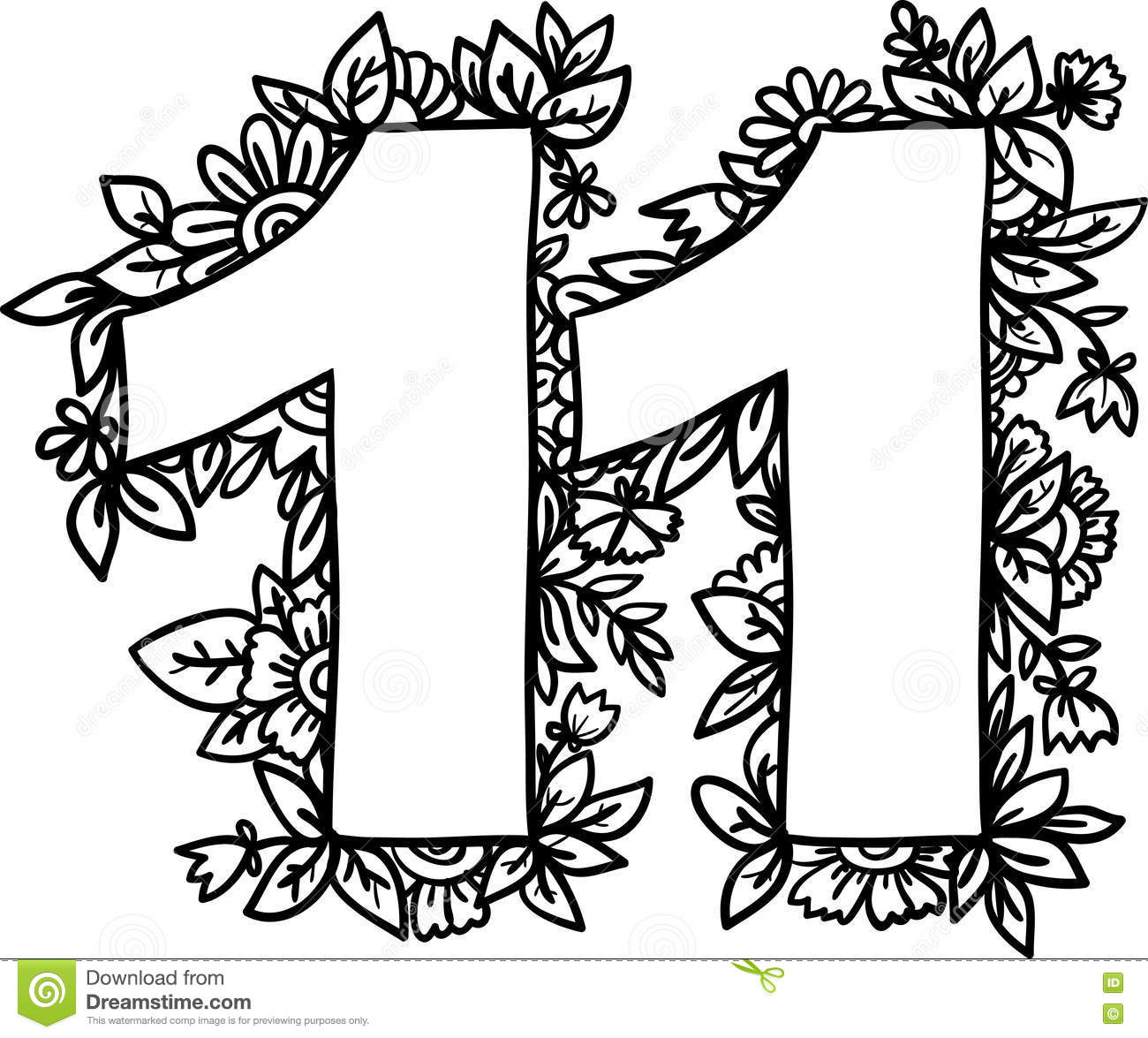 Number 11 with decorative floral and herbal elements. Vector illustration.