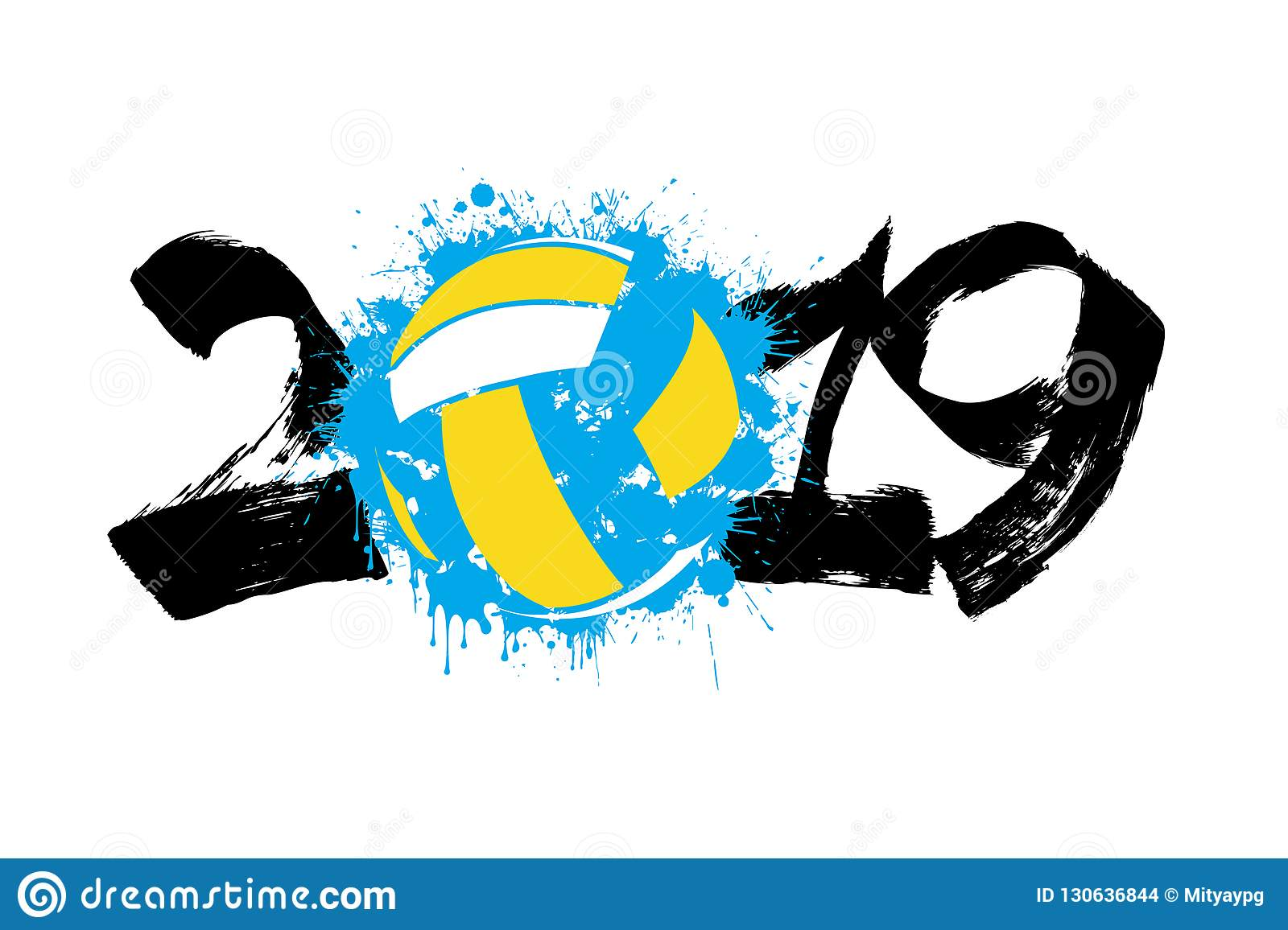 Abstract Grungy Background Volleyball Arrowhead Stock: Number 2019 And A Volleyball Ball From Blots Stock Vector