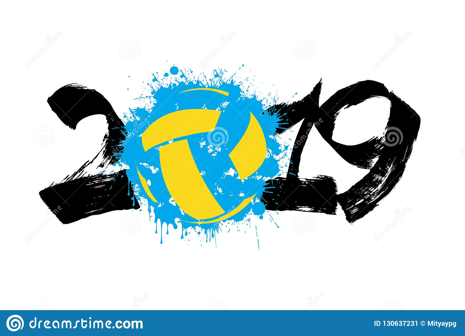 Abstract Grungy Background With Volleyball Arrowhead: Number 2019 And A Volleyball Ball From Blots Stock Vector