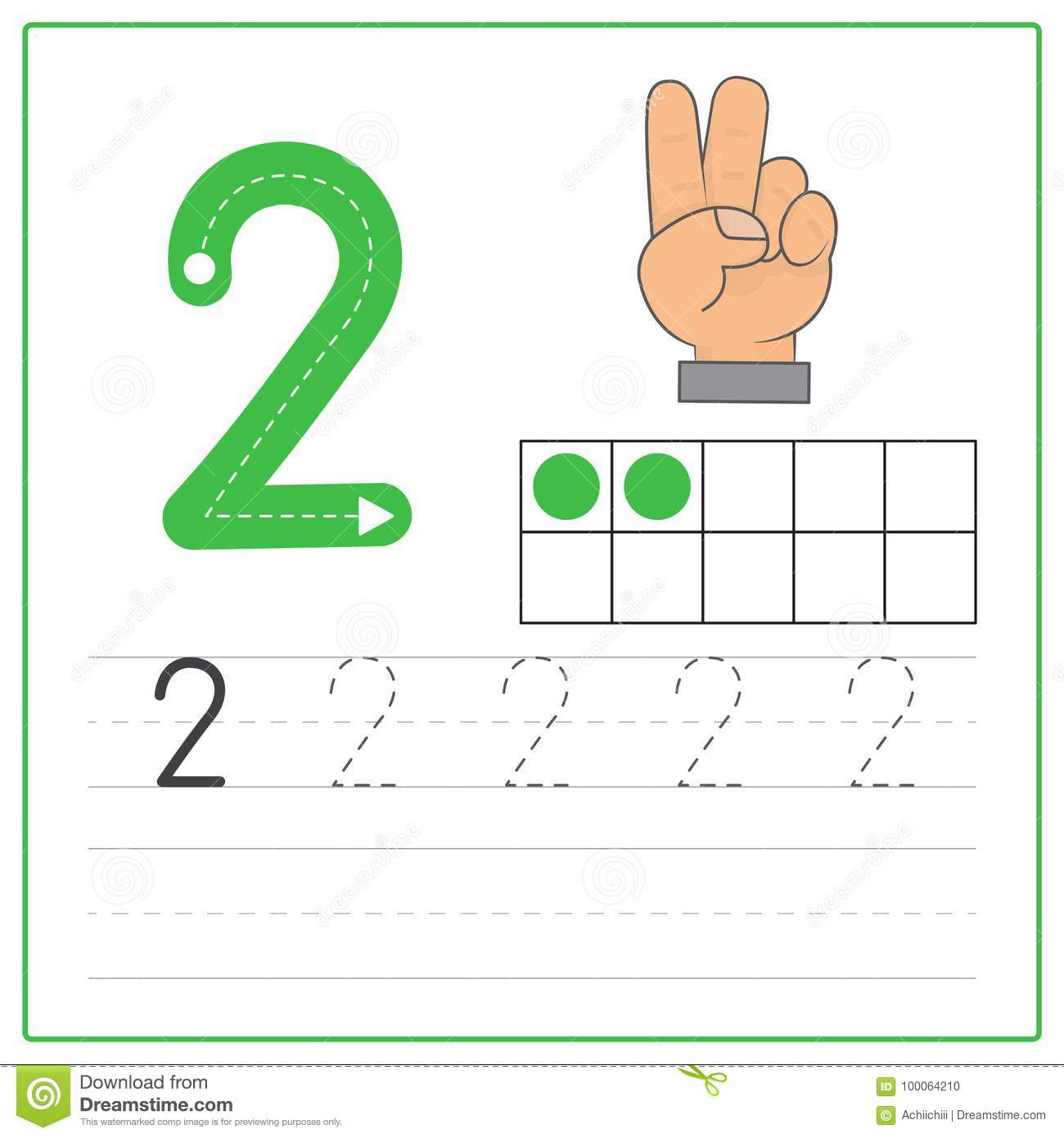 Number Writing Practice 2 Stock Vector Illustration Of Four 100064210