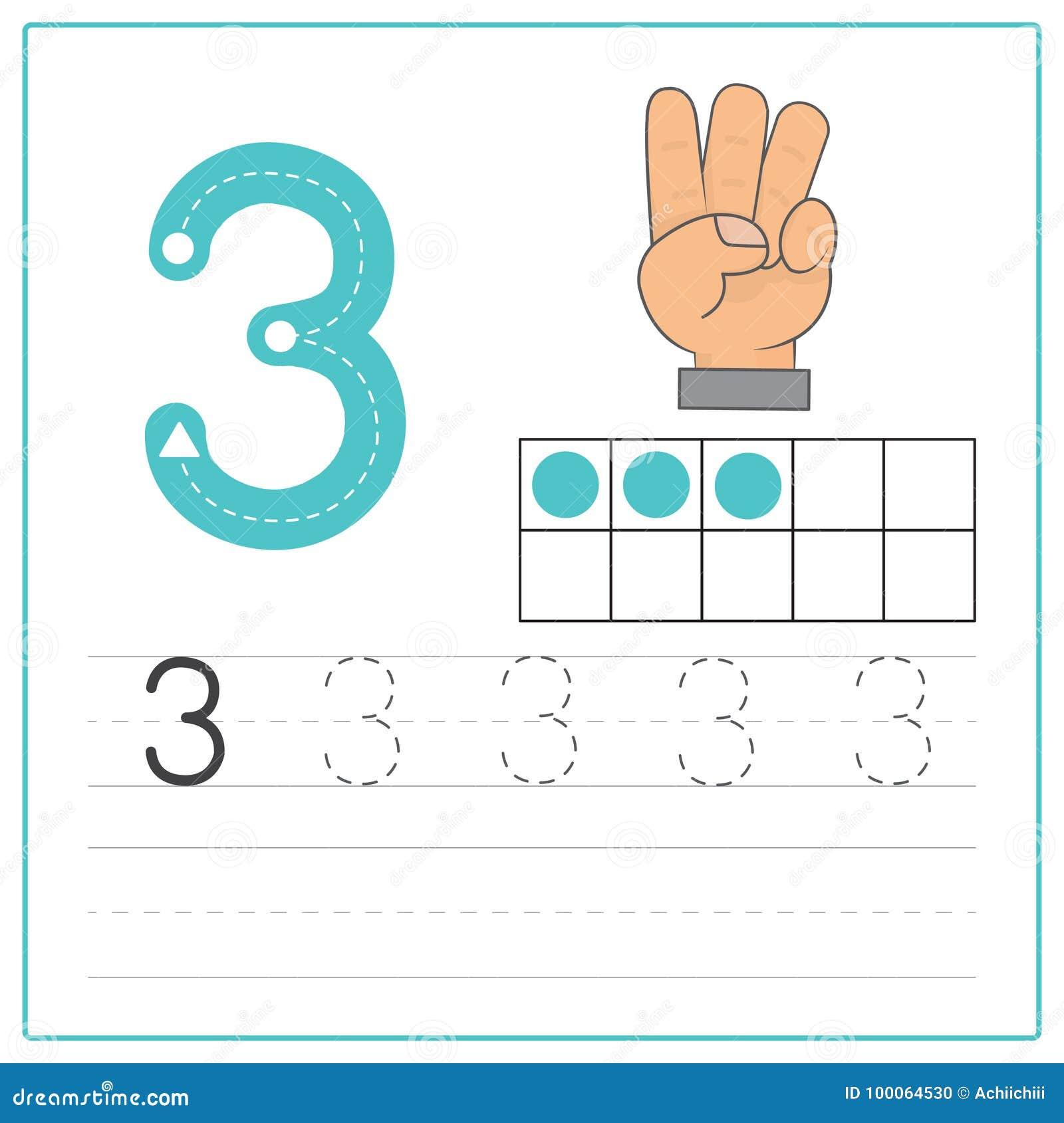 Number Writing Practice 3 Stock Vector Illustration Of Kindergarten