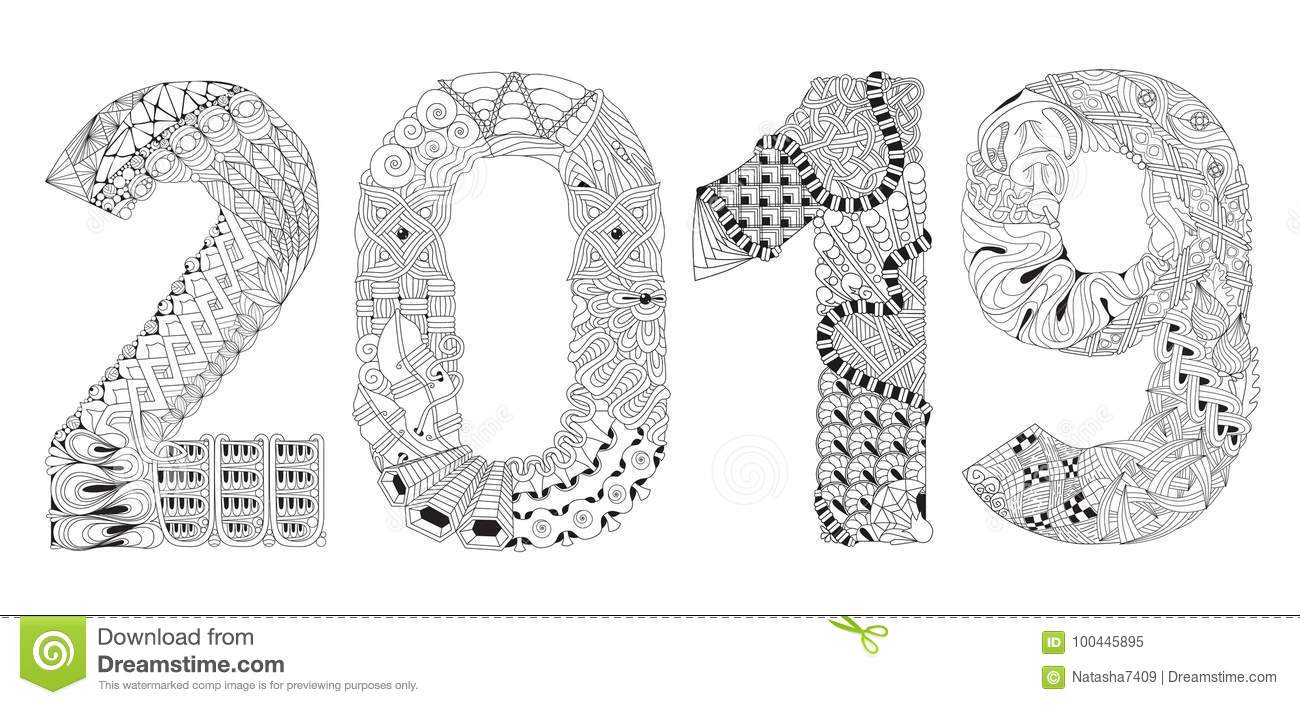 Number 2019 zentangle vector decorative object stock - Color for new year 2019 ...