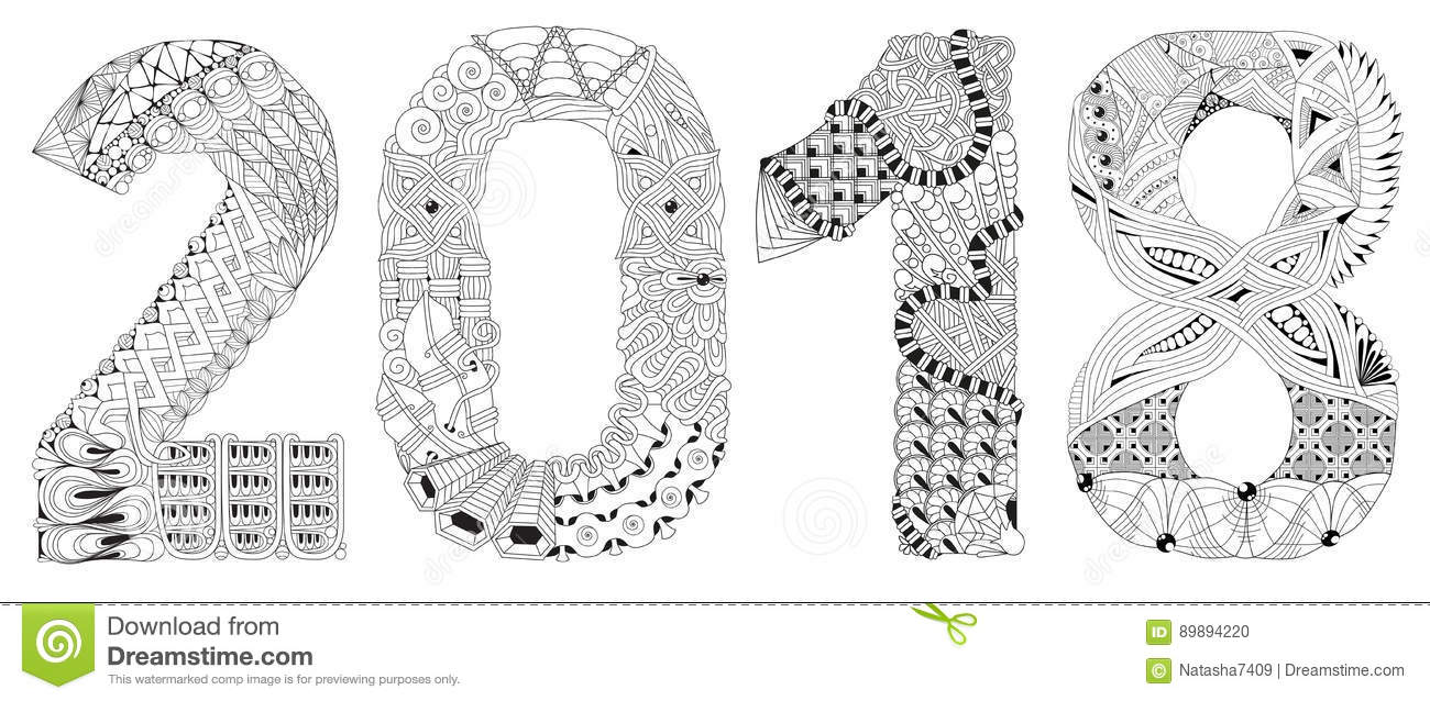 number 2018 zentangle vector decorative object - Coloring Page 2018
