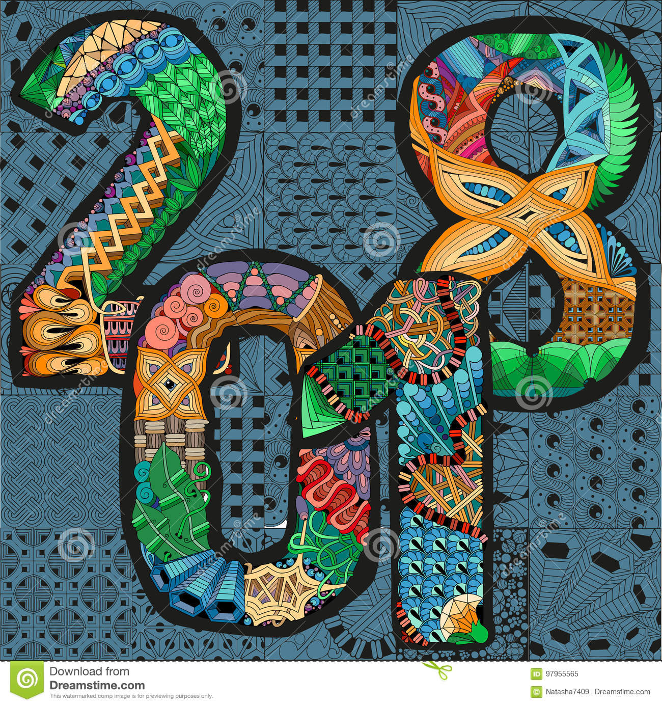 Number 2018 Zentangle. Vector Decorative Object Stock Vector ...
