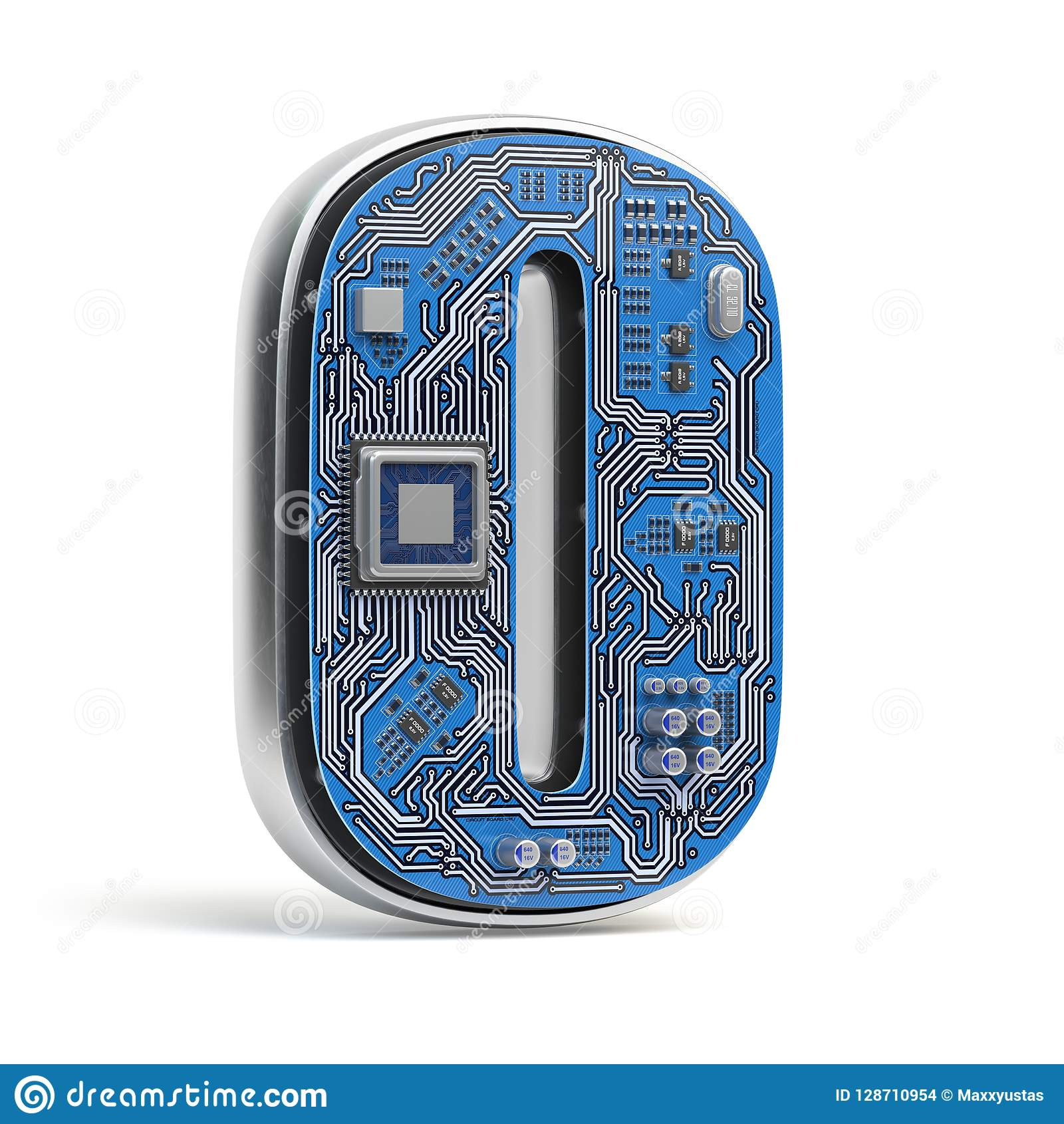 Number 0 Zero Alphabet In Circuit Board Style Digital Hi Tech Compass