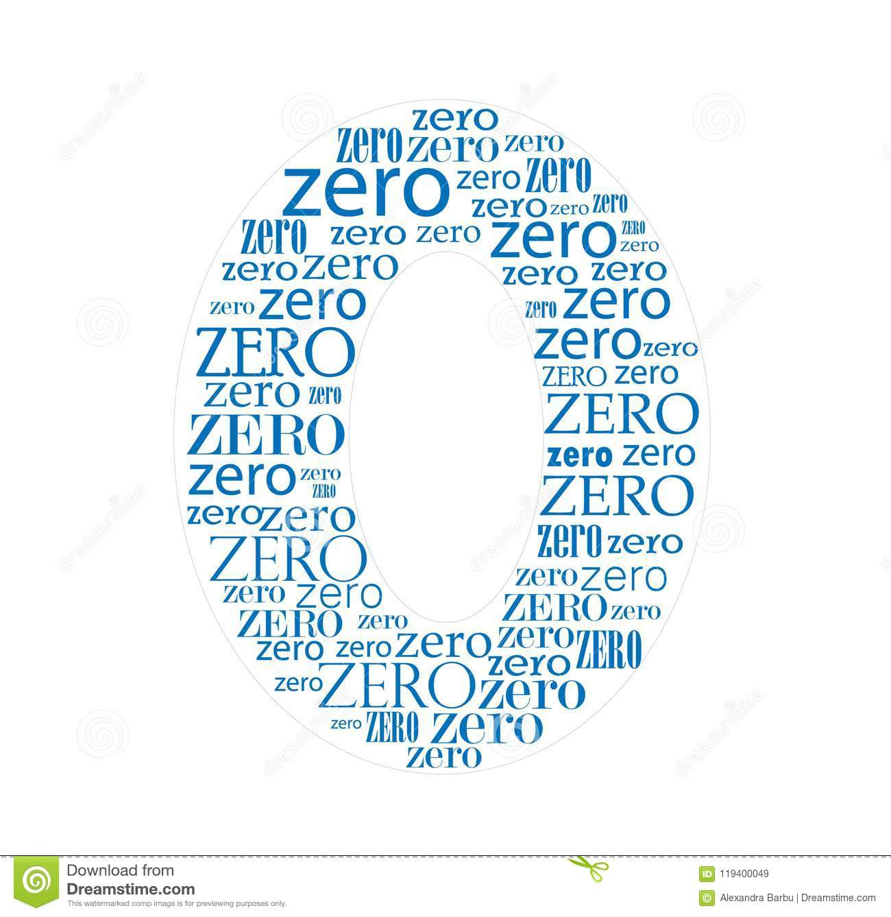 Number Zero Blue Formed With Text Letters Stock Vector