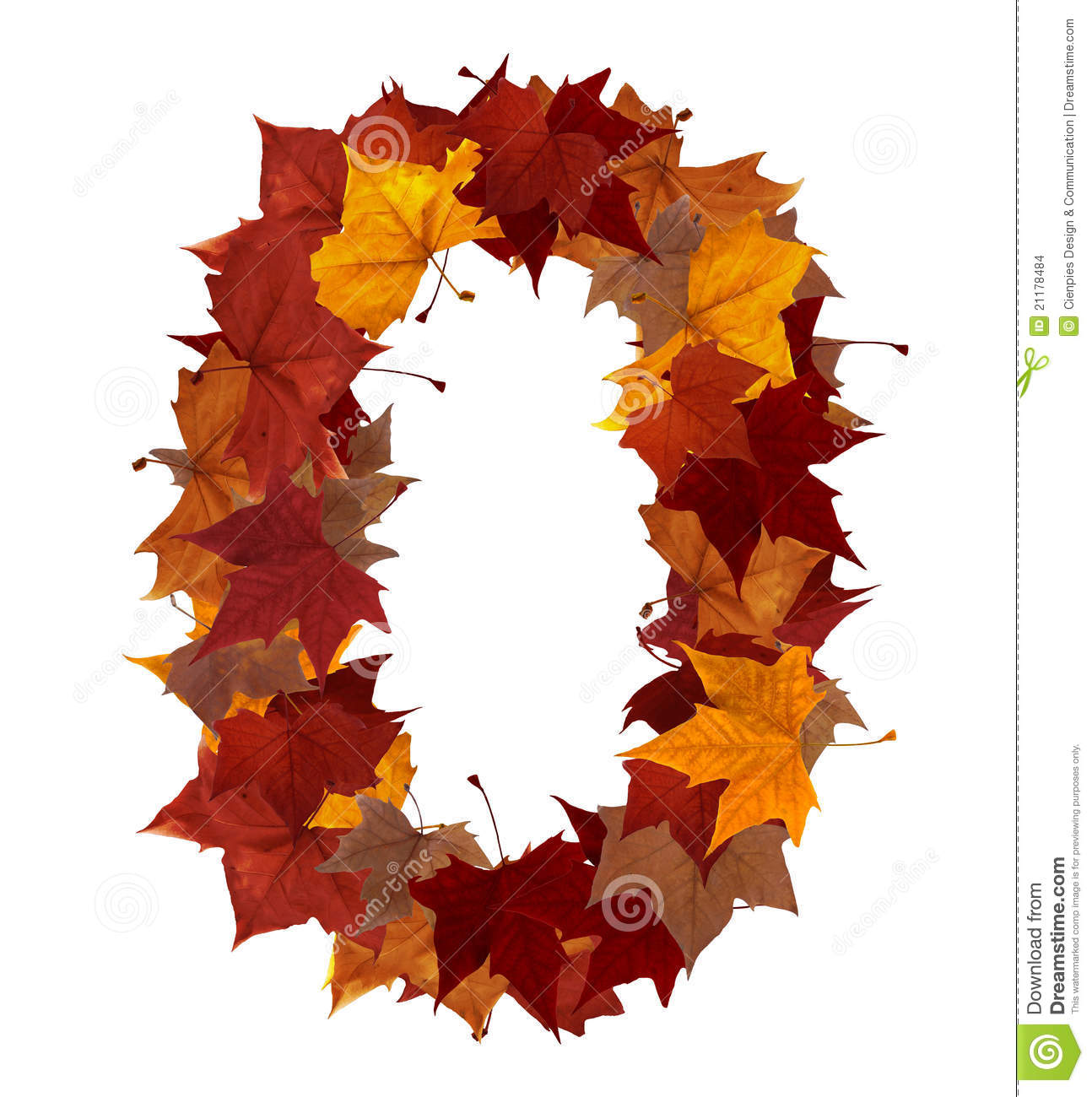 Number zero with fall leaf isolated