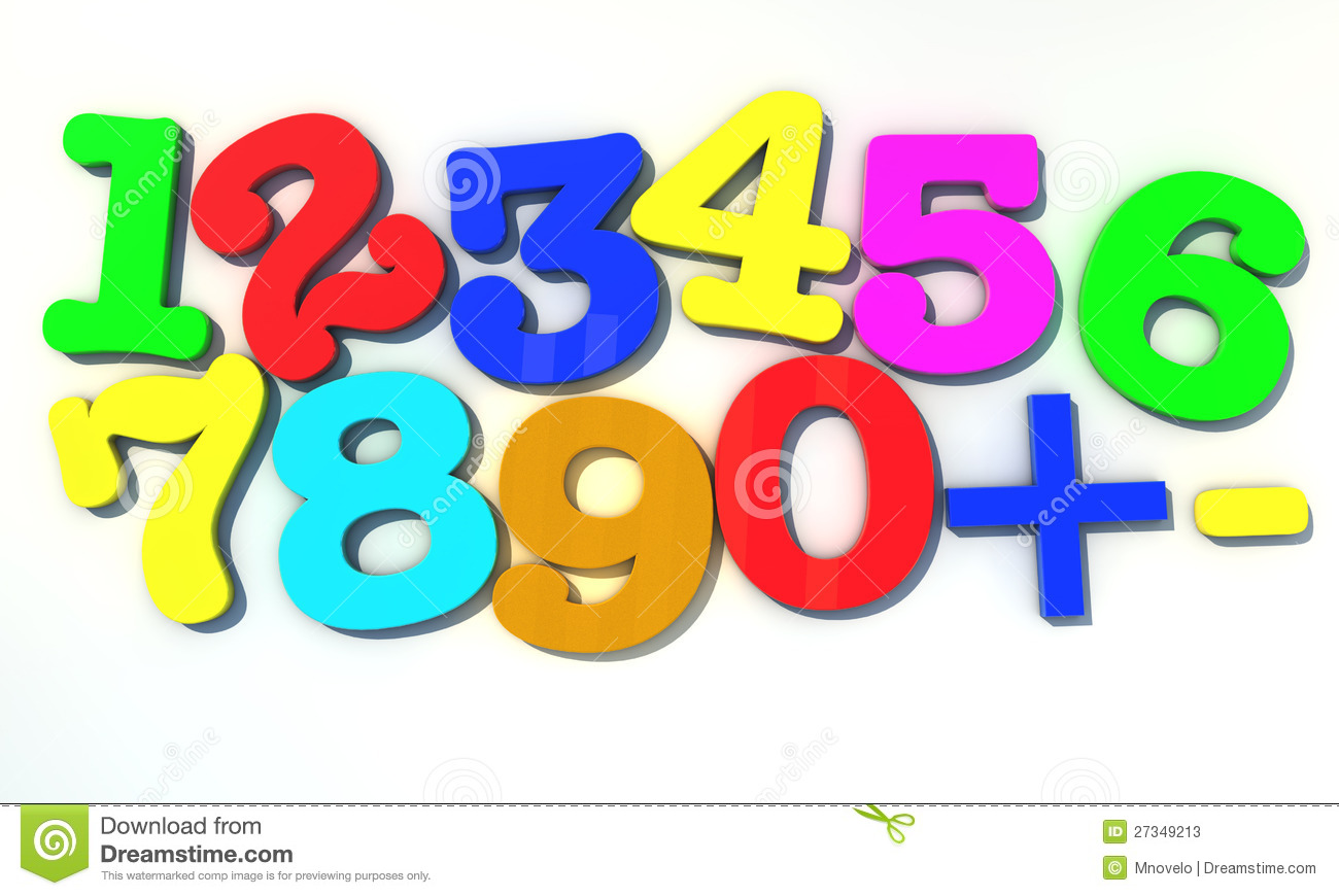 123 Multicolor numbers over white background Numbers 1234. 123 Multicolor  numbers over white background stock illustration