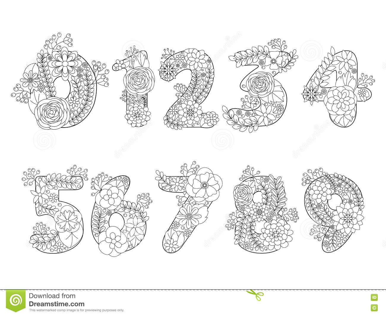 Numbers Coloring Book For Adults Vector Stock Vector