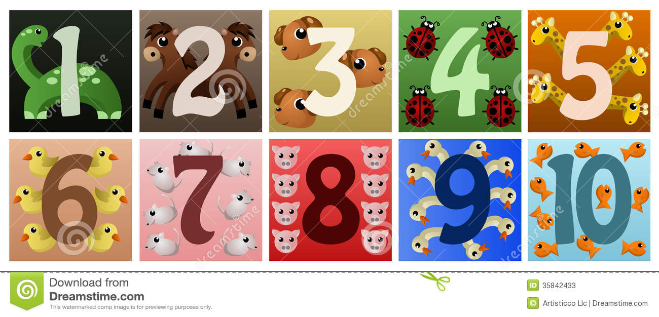 vector illustration of a set of numbers with cute animals.