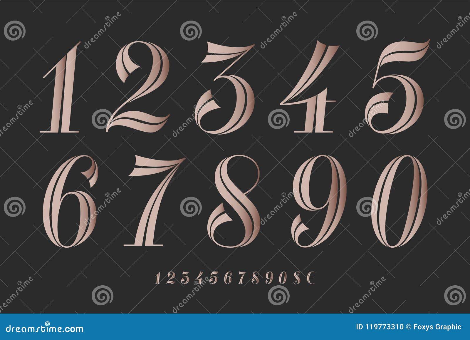 Numbers Font. Classical Elegant Font Stock Vector ...