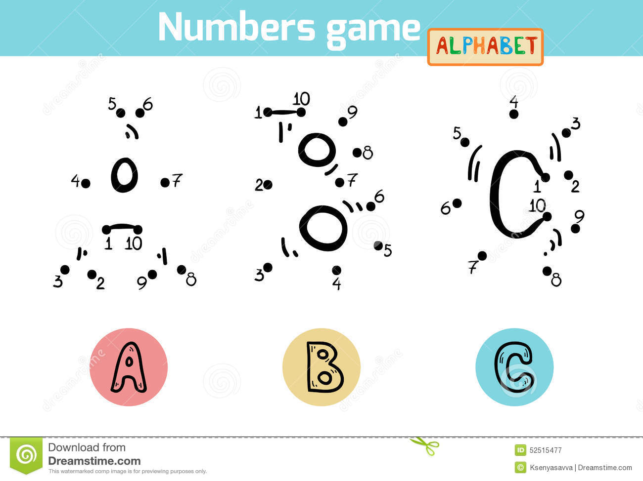 Numbers Game (Alphabet): Letters A, B, C Stock Vector ...