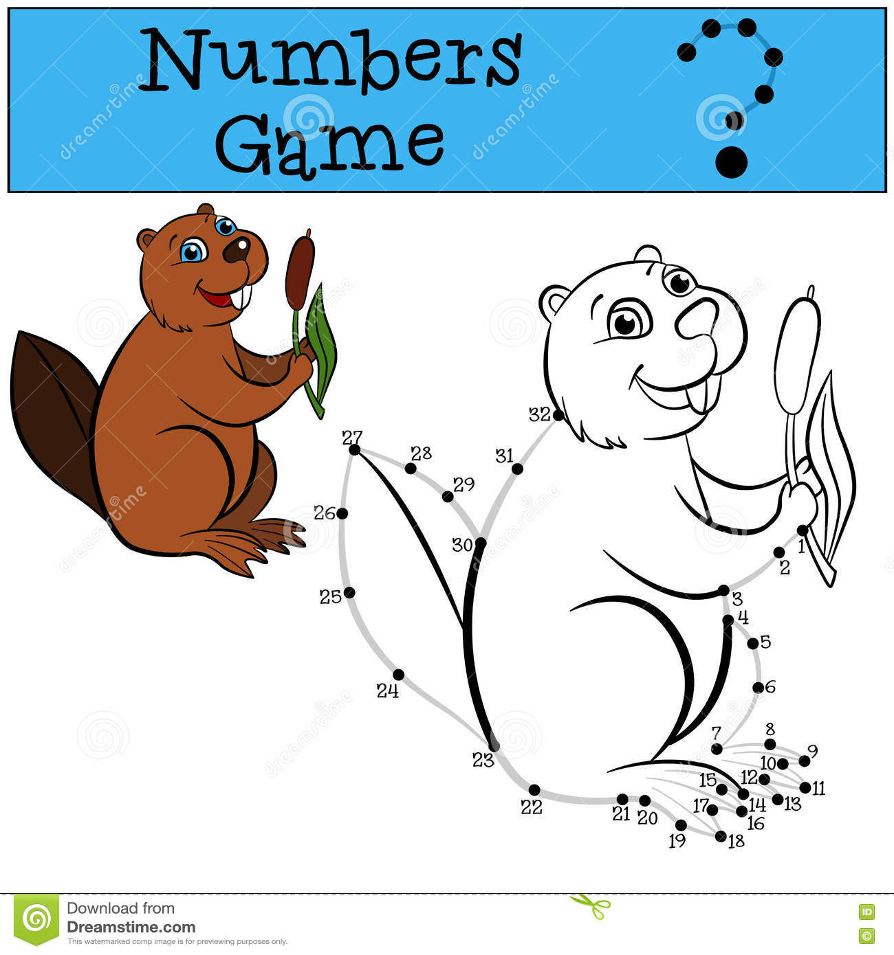Numbers Game With Contour. Little Cute Beaver. Stock ...