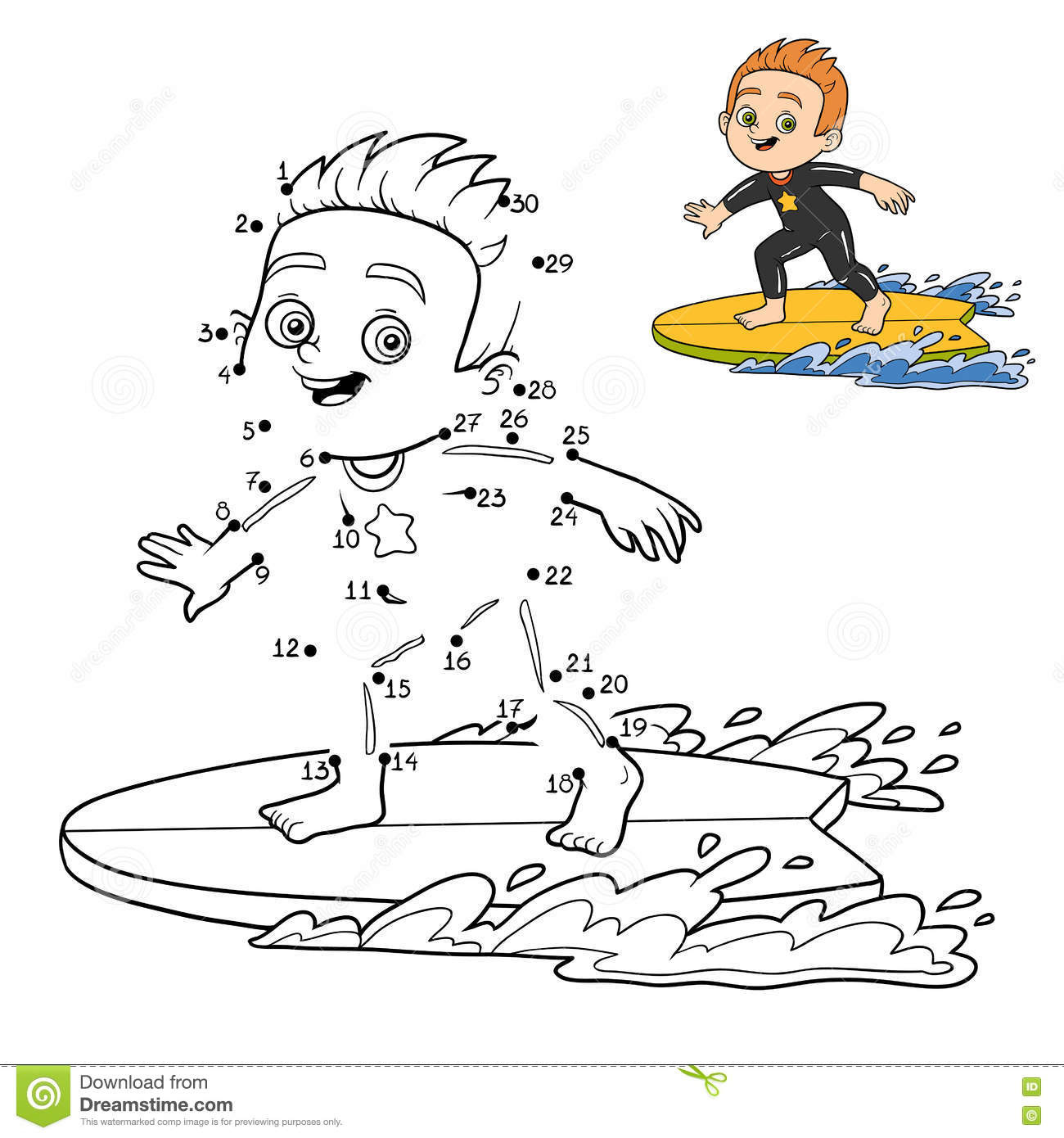 Numbers Game Dot To Dot A Boy Riding A Surf Stock Vector
