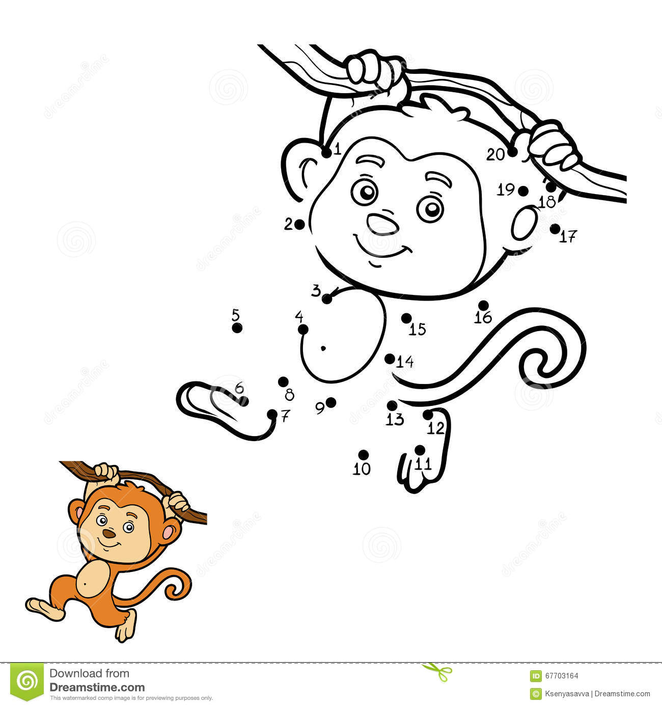 Numbers Game Dot To monkey Stock Vector Image