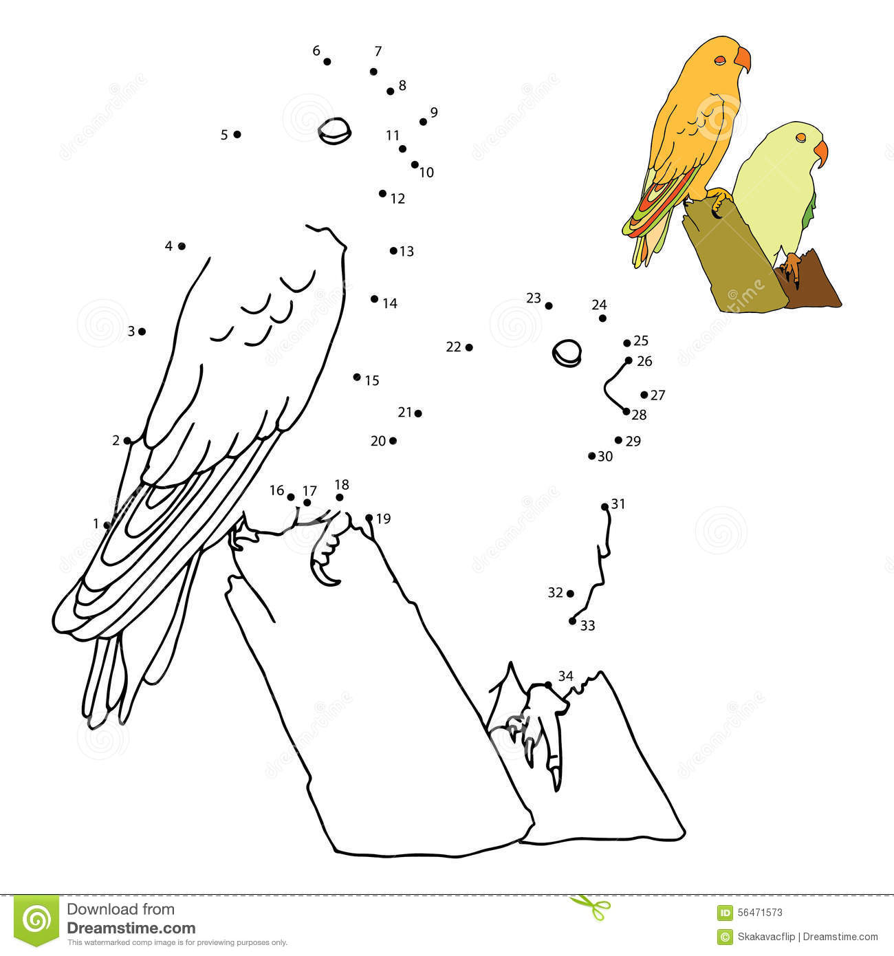 Line Drawing Numbers : Numbers game parrot stock illustration image of number
