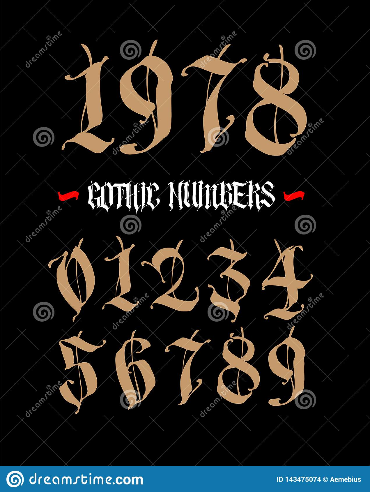 The numbers are in the Gothic style. Vector. Symbols isolated on white background. Calligraphy and lettering. Medieval figures.