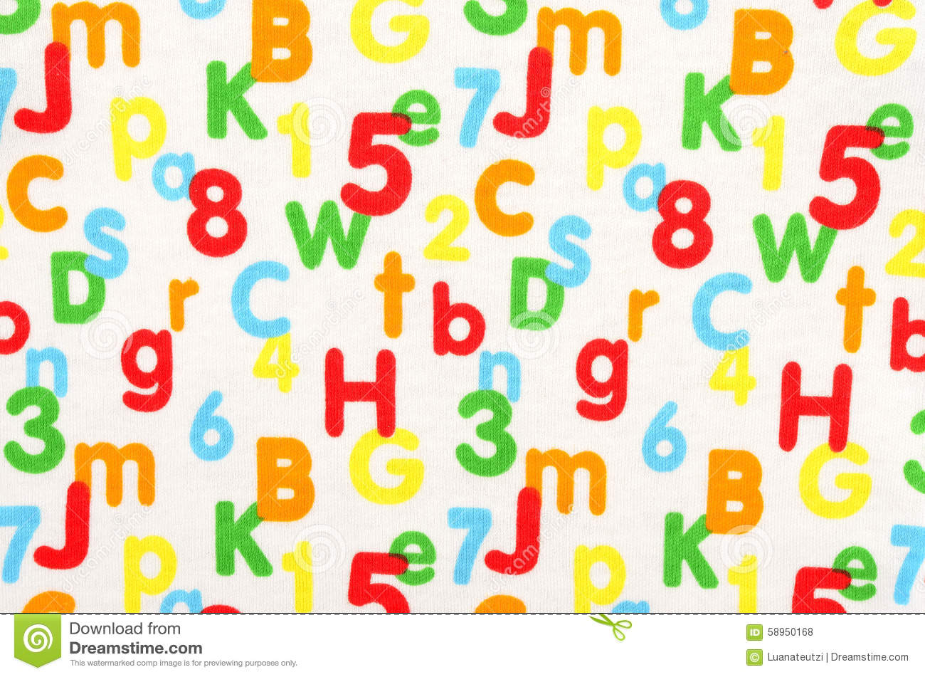 numbers and letters on white fabric stock illustration image
