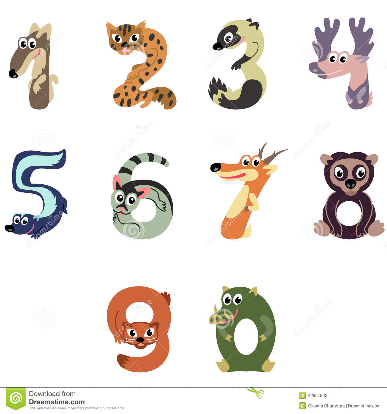 Numbers Like North America Animals Stock Vector - Image ...
