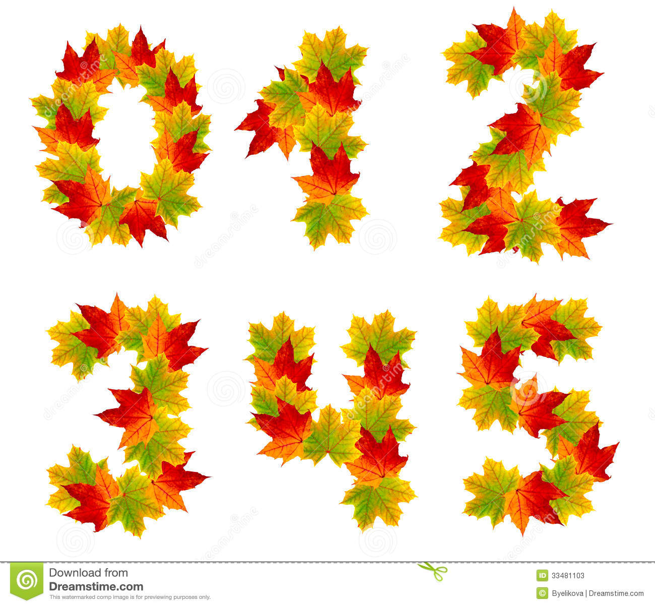 Numbers Made From Autumn Leaves Stock Photos Image 33481103