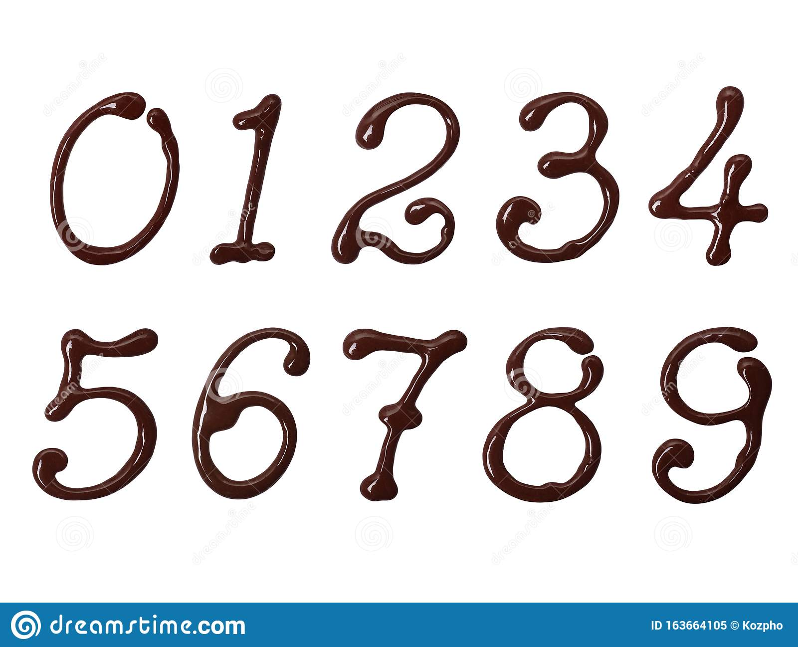 Numbers Made Of Elegant Chocolate Font With Swirls ...