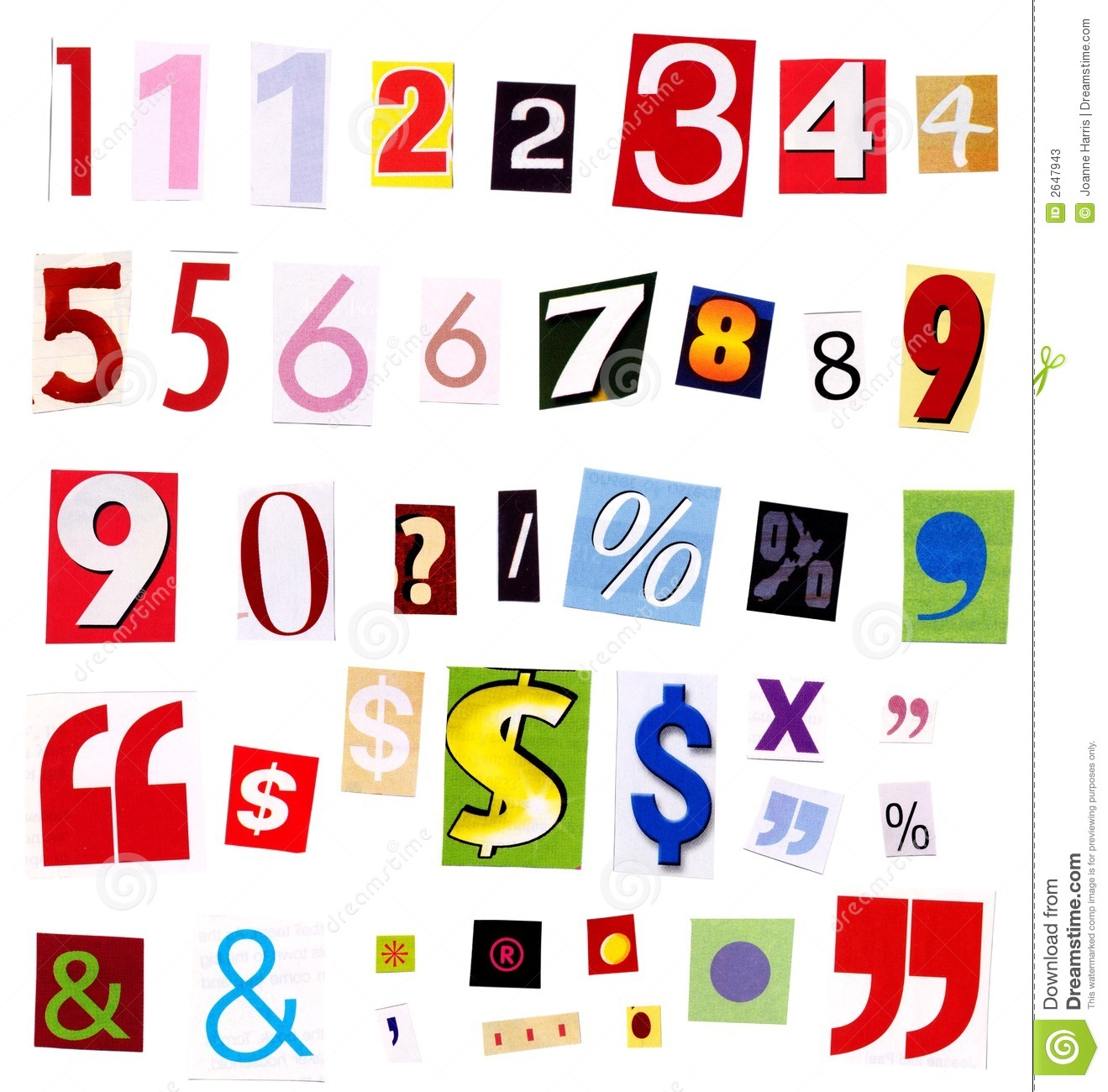 numbers magazine cutouts stock image  image of advertising