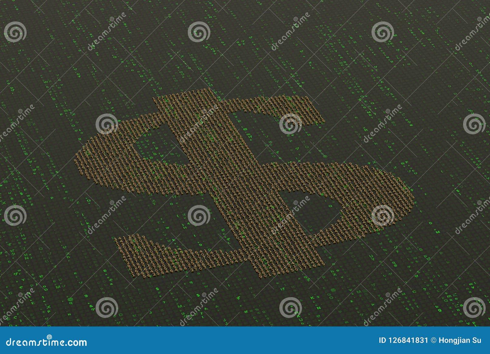 Numbers Make Up A Dollar Symbol On Digital Background 3d Illust