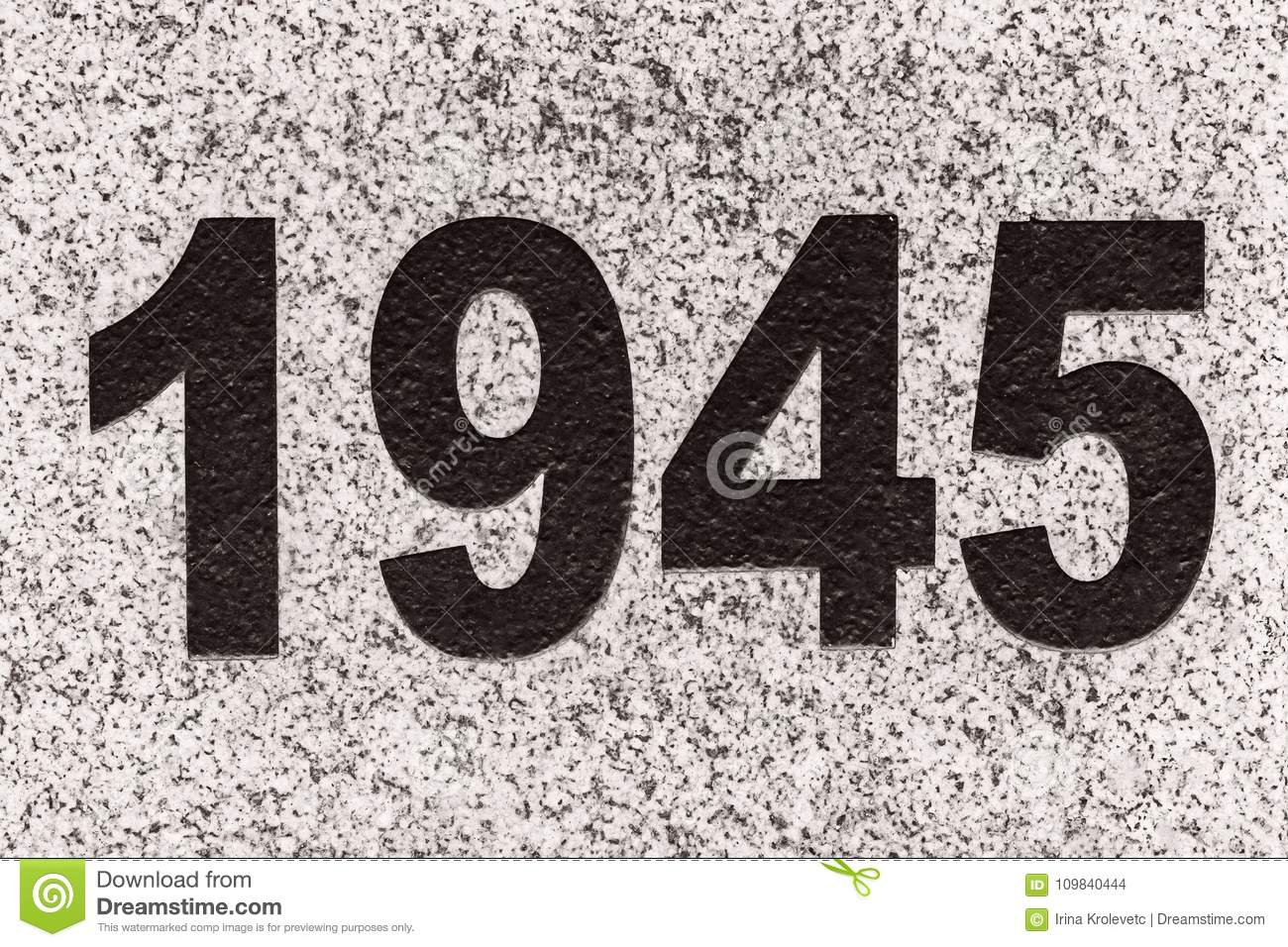 numbers 1945 on a marble slab stock photo image of grey design