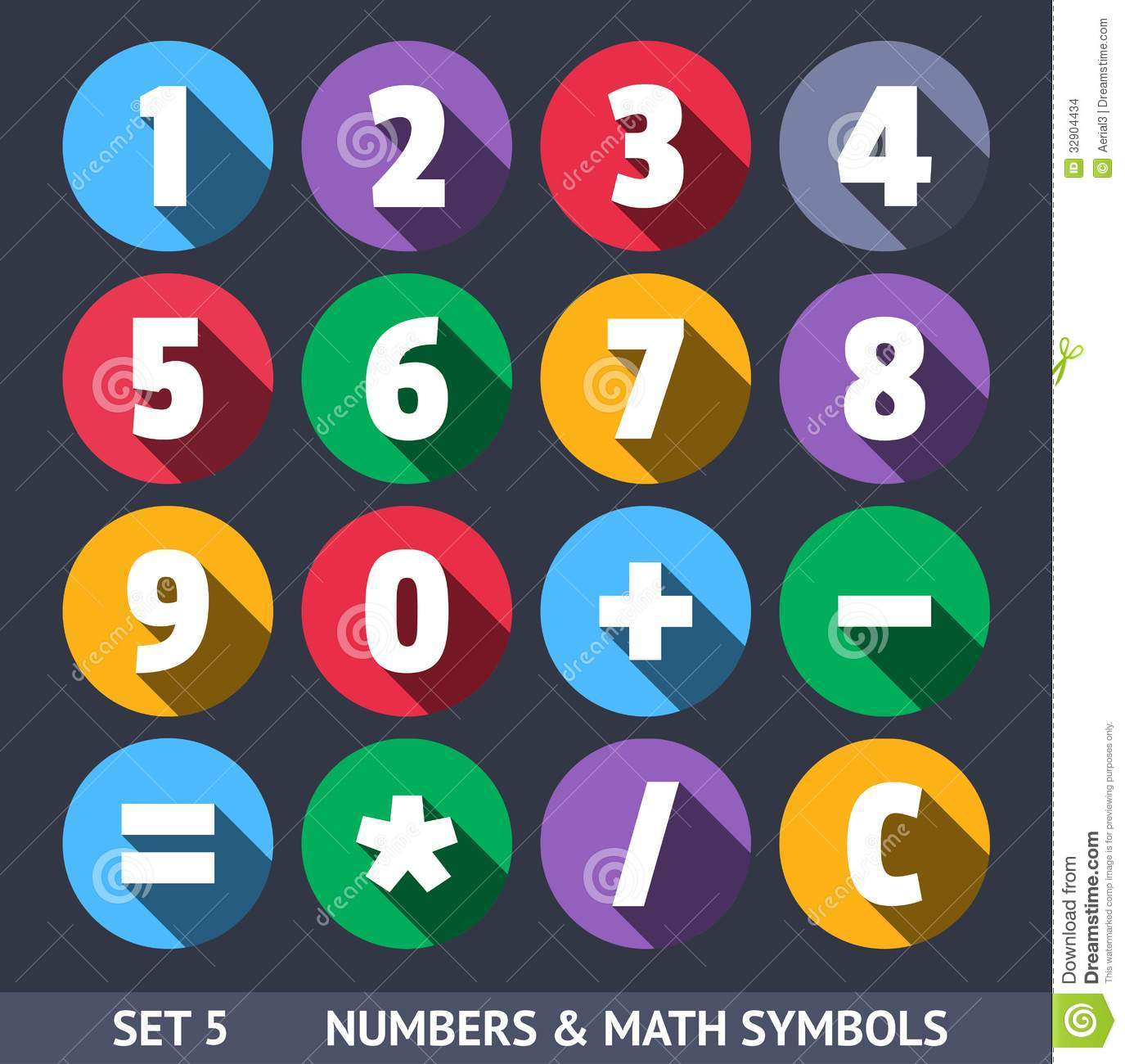 numbers and mathematical symbols  vector icons stock