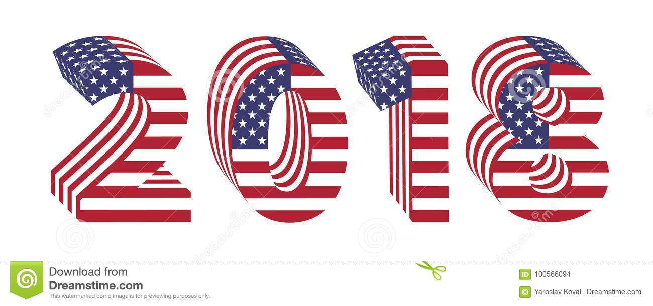 2018 numbers 3d american flag new year stock illustration