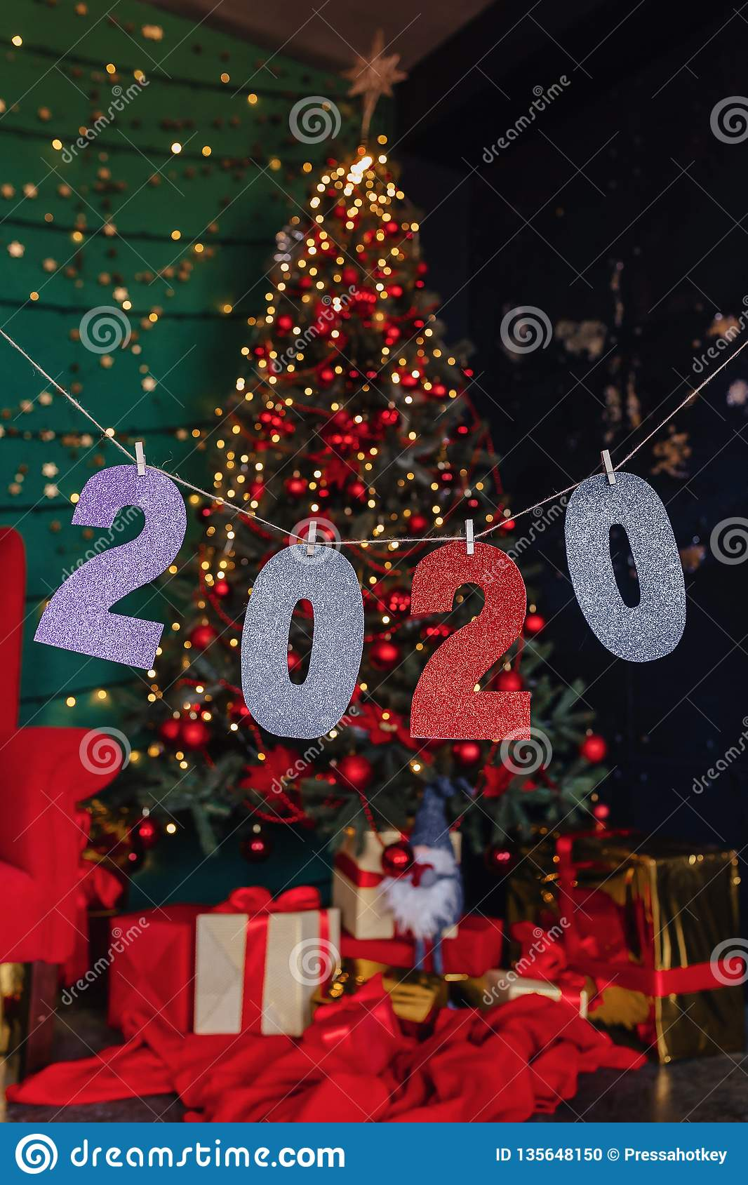 2020 Numbers New Year Party, Christmas Tree Stock Photo