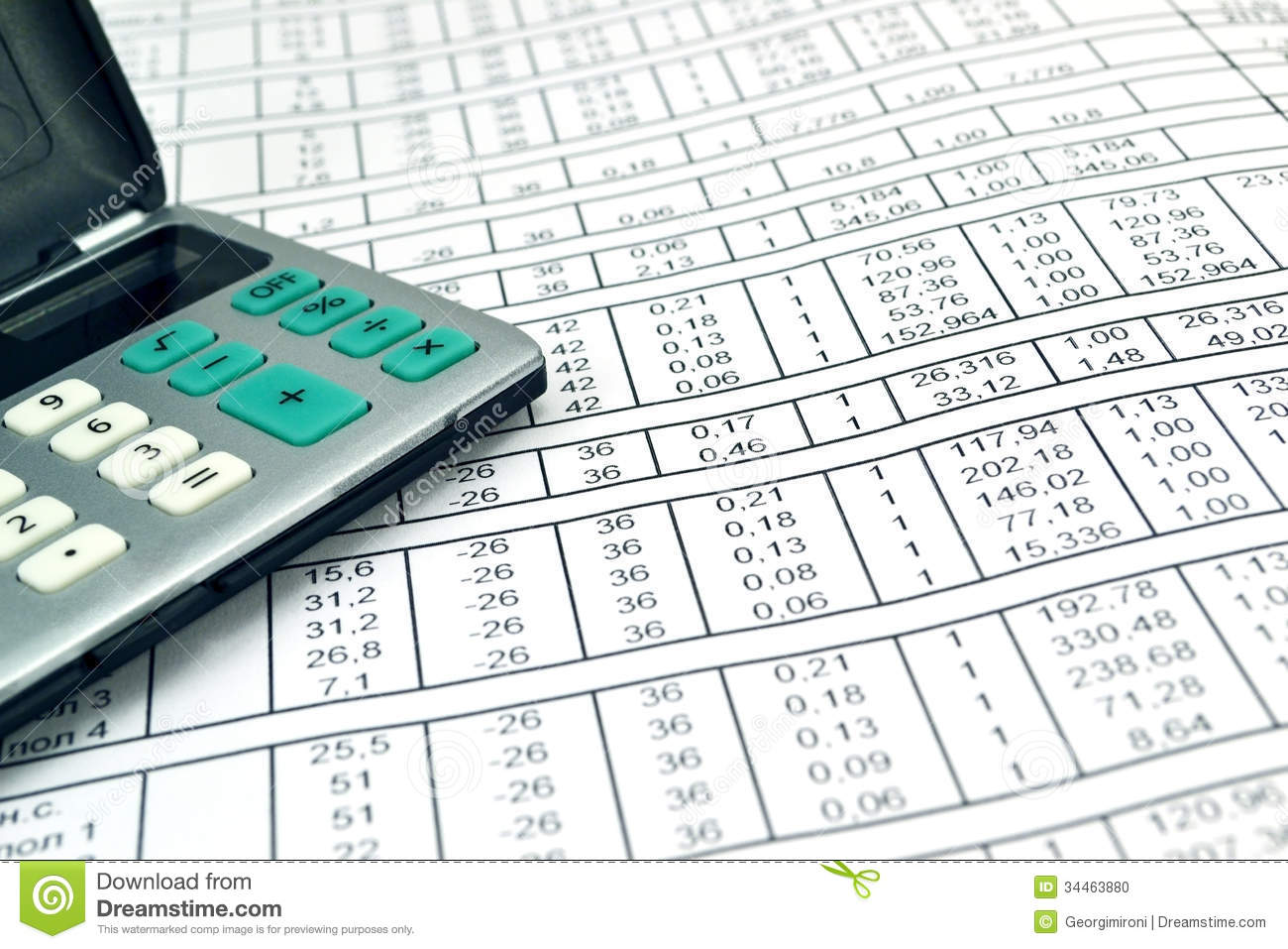 Numbers On Paper And Calculator Stock Photo - Image: 34463880