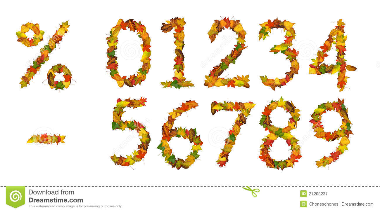 Numbers Percent Sign And Minus Of Autumn Leaf Stock Image