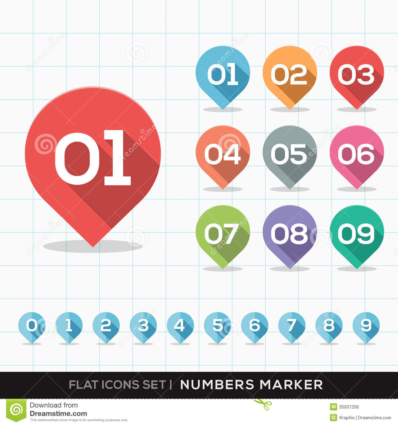 Numbers Pin Marker Flat Icons With Long Shadow Set Royalty Free ...